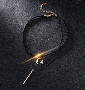 The Moon And Star Design Necklace Collarbone Chain Collar For Women