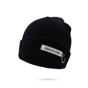 Women's Simple Label Logo Thickening Casual Warm Wool Hat