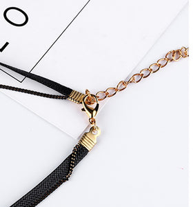 Women'S Black Cord Neck Accessories Star Neck Collarbone Chain Necklace