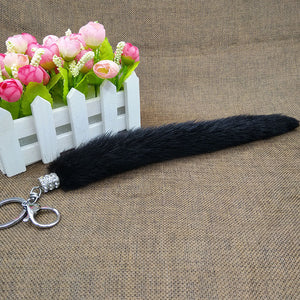 Direct Selling Real Leather Mink Tail Hair Hang Car Key Ring Hang Decoration Car