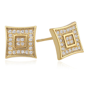 Square Stud Earrings New Fashion Unique for Women Gold-color Earing White Cubic Zircon Statement Jewelry