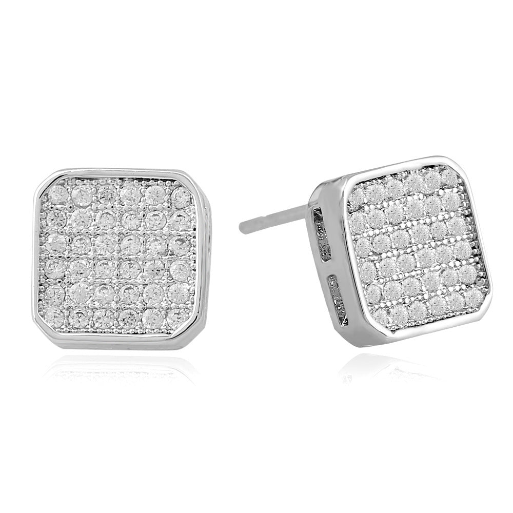 Authentic Sterling Clear CZ Geometric Classic Square Stud Earrings for Men Fine Jewelry