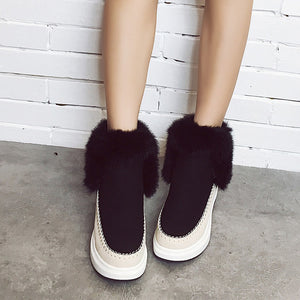 New Women's Round Suede Boots Women's Cotton Boots Increased Velvet Snow Boots (1 pair)