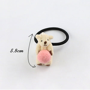 Bear Design Cute Pompon Elastic Hair Tie