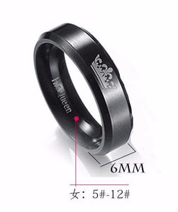 Popular Stainless Steel Couple Ring Her King His Queen Titanium Crown