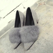 New Women's Shoes with A Low-heeled Suede Rabbit Hair Pointed Shoes(1 pair)