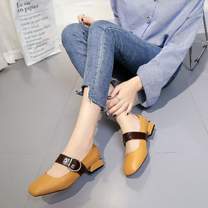 Winter New Square Head with Low-heeled Shoes with A Small Buckle Shoes(1 pair)