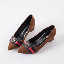 Women's Suede Badge A Pedal High Heels Thick with Pointed Low Heels Shoes (1 pair)