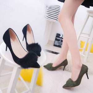 Fall New Women's Shoes Suede Rabbit Hair Sexy Single Shoes Fine Shoes with Pointed Shoes Female