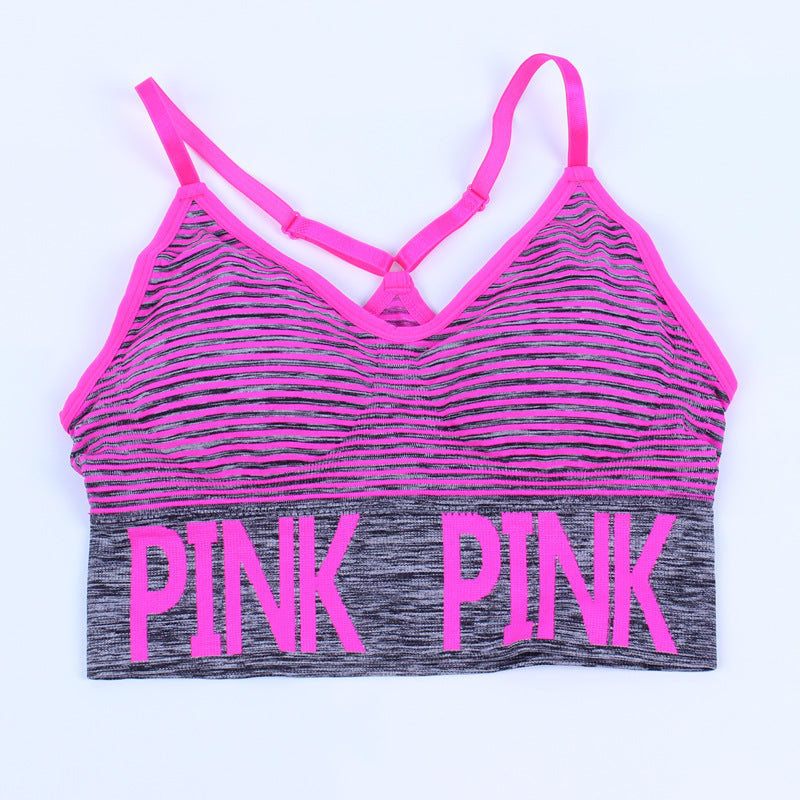 Pink Yoga Top Sports Bra Top Female Women Push Up Padded Bra Fitness Athletic Gym Workout Sport Brassiere Underwear Bras