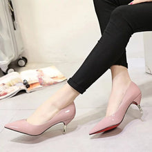 Autumn Solid Color High-heeled Shoes Pointed Shallow Mouth Mirror Female High Heels Shoes(1 pair))
