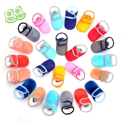 Candy Color Waterproof and Non-slippery Warm Cotton Velcro Closure Toddler Shoes