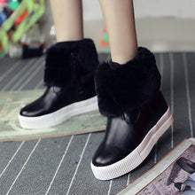 Classical Color Flat Shoes Women's Shoes Flat Side Zipper Thick Warm Shoes Female(1 pair)