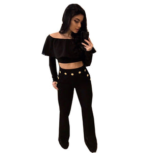 Hot Style European And American Women's Wear Spring Long-Sleeved Blouse Fashionable Button Trousers