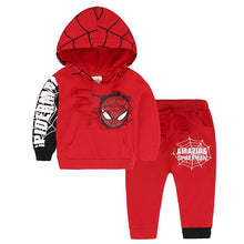 Kids Boys Autumn Cotton Warm Red SpiderMan Hoodies and Pants Suits