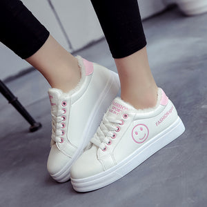 Thick Flannel Lining Smiling Face Embroided Women's Fashion Casual Shoes