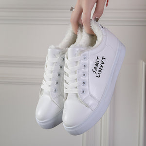 White Casual Shoes Letters Embroided and Thick Flannel Lining