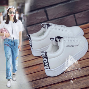 Thickened Flannel Lining Lace Up Novel Shoe Tongue Casual Shoes