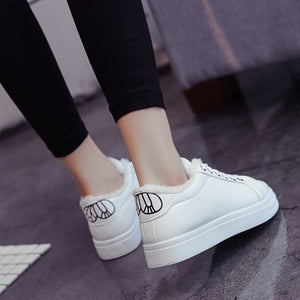 Bow Detailed Back Strap Lace Up White Casual Shoes