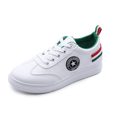 Stripes Pattern Back Strap Low Top White Casual Shoes