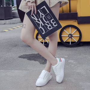 Signature Pattern White Casual Shoes for Women