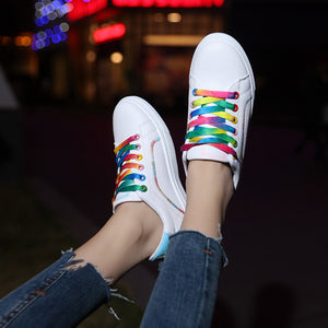 Rainbow Color Shoelaces and Rabbit Ears Shoe Tongue Casual Shoes for Women
