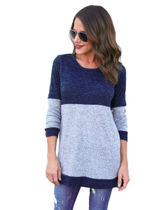 Female Round Neck Warm Regular Color Blocks Sweater