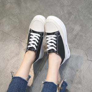 Color Contrast Vamp Lace Up Elevator Shoes for Women