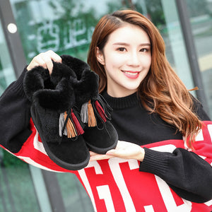 New Comfortable plus Velvet Warm Female Boots Breathable Elastic Non-slip Wear Martin Boots(1 pair)