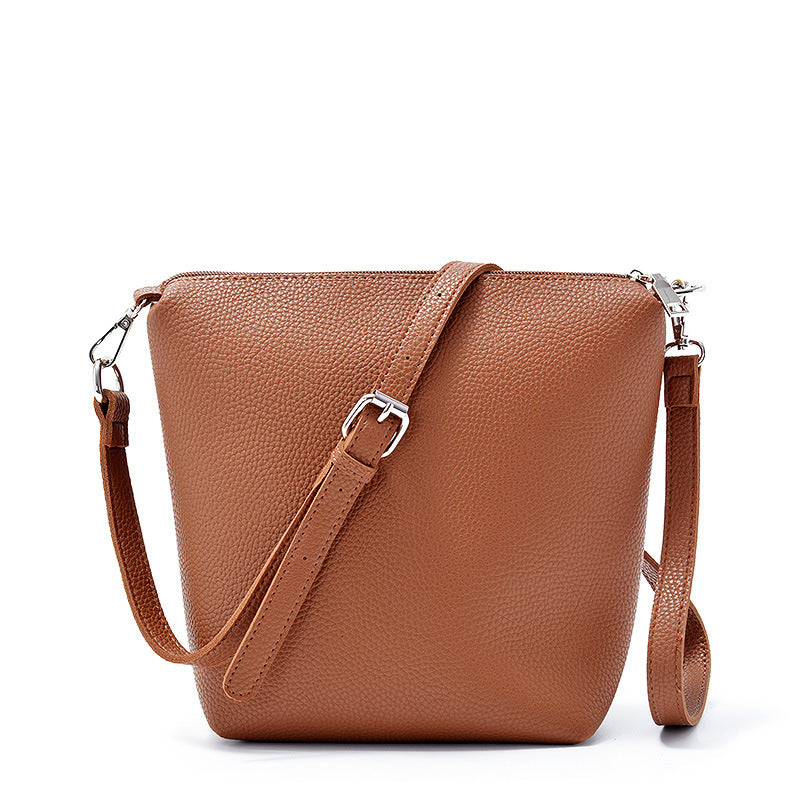 PU Bags Women Fashion Bucket Handbags Female Causal Messenger Bags Single-shoulder Bags Pure Color Bags