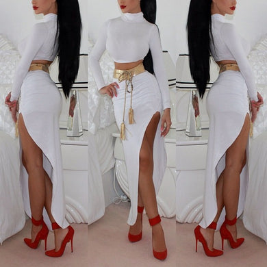 Fashion New Power Sexy Long-Sleeved Two-Piece Set Of Slanting Nightclub Dresses