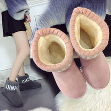 Winter New Snow Boots Round Flat Boots Women Suede Plus Velvet Thick Warm Non-slip Boots(1 pair)