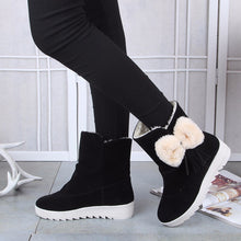 Winter New Snow Boots Round Flat Non-slip Booties Female Sleeve Bow Martin Boots(1 pair)