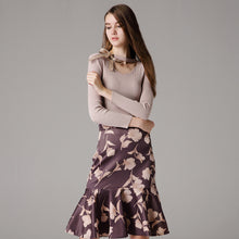 Elegant Knitting Tops and Floral Pattern Skirts Casual Suits