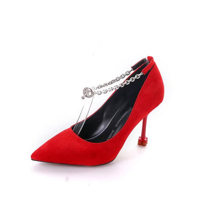 Female  Rhinestone Metal Anklet Decorated Female Heels(1 pair)