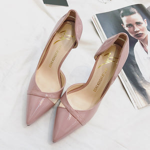 New Women's Solid Color  Pointed High-heeled Shoes Non-slip Wear-resistant Shoes(1pair)