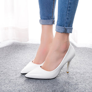 Pointed High Heels Fine with Shallow Mouth Shoes  Thin OL Professional Patent Leather Shoes(1 pair)
