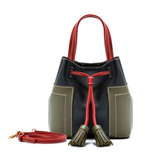 PU Bags Women Fashion Bucket Mini Handbags Female Causal Messenger Bags Tassels Bags Chain Bags Single-shoulder Bags Contrast Color Bags
