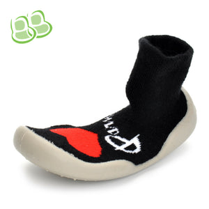 Black Heart Sock Shoes 1-3-year-old Toddler Shoes for Baby Kids