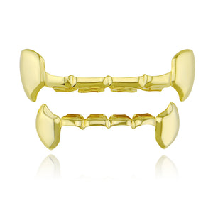 Hiphop Gold Teeth Grillz Top & Bottom Half Fang Tooth Grillz Dental Party Vampire Cosplay Teeth Caps Jewelry