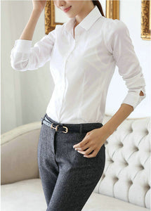 White Shirt Women Work Wear Long Sleeve Female Office Blouse Tops Slim Women Formal Blouses