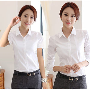 Fashion White Shirt Women Work Wear Long Sleeve Female Office Blouse Tops Slim Women Formal Blouses Shirts