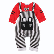 Baby Cotton Bowtie Kitten Stripes Overalls 2 Piece
