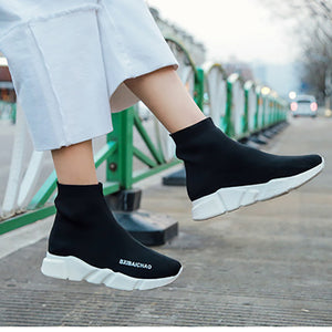 Women's Fashion Thick Bottom Women's Shoes Sports Running Shoes Black Color
