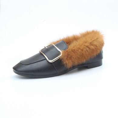 Black PU Warm Plush Casual Shoes