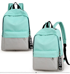 Dual Colors Contrast Casual Nylon Backpack