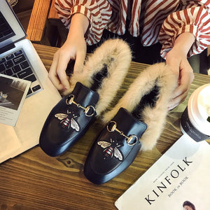 Vintage Plush Warm PU Slip-on Shoes