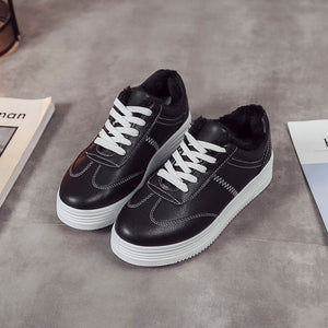 Solid Color Thickened Flannel Lining Winter Casual Shoes
