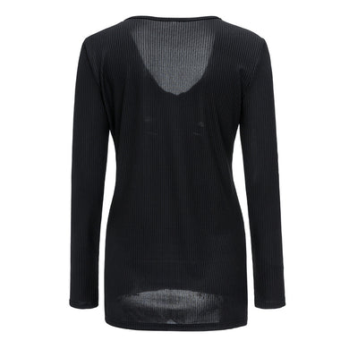 Autumn Female Hot Sale Slim Black Shirt V-neck Knitting