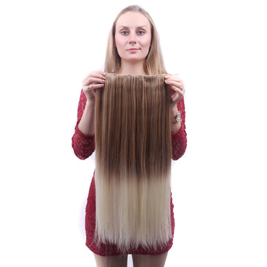 Straight Ombre Synthetic Hair Extensions High Temperature Fiber Women 5 Clip-in Gradient Hair Pieces
